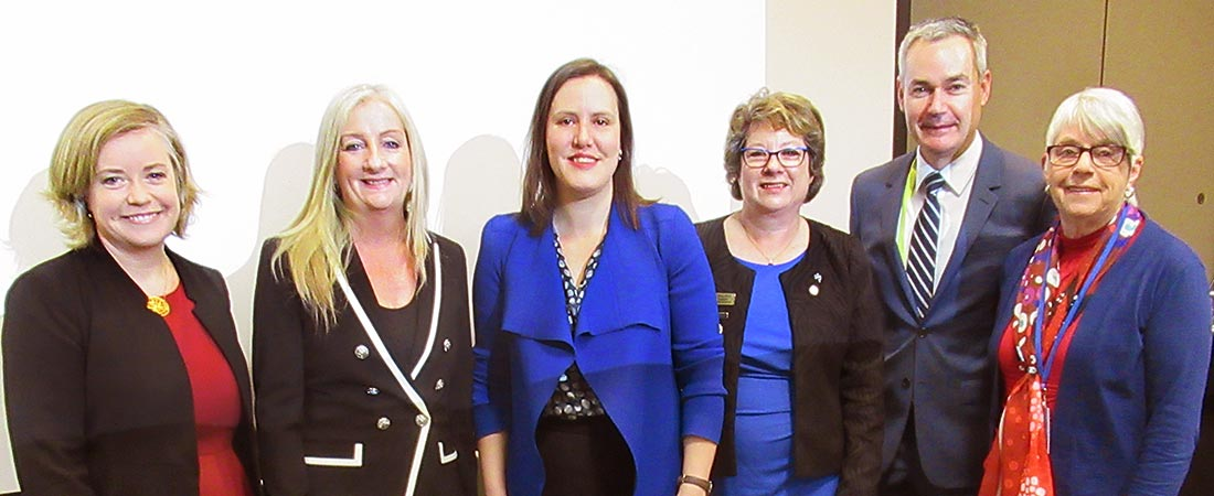 Linda Scott, President LGNSW, Wanneroo Mayor Tracey Roberts, Federal Minister for Women Kelly O'Dwyer, ALGWA National President Cr Coral Ross, ALGA President Mayor David O'Loughlin and guest speaker Cr Alwyn Friedersdorff, President, NRWC.
